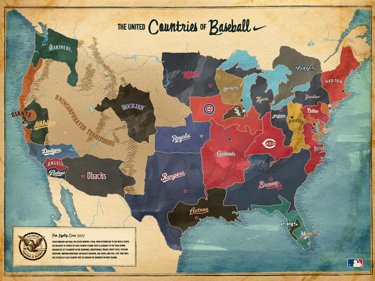 MLB Fans Map Andy McD - Mlb us map